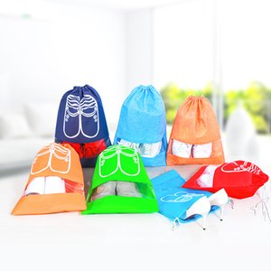 Wholesale 5styles Shoes storage bag pouch dust proof Transparent clear drawstring storage pocket travel portable shoes orgazier stuff bags FFA2777
