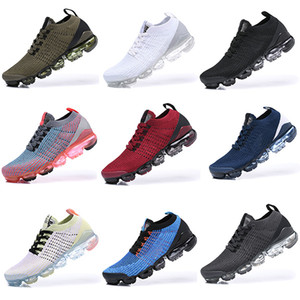 ingrosso volante nero-Vapormax Running Shoes atmosphere cushion Triple Black Designer Mens Women Sneakers Fly White knit cushion Trainers Zapatos