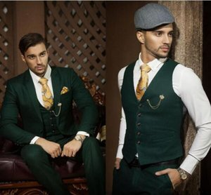 Wholesale Bespoke Dark Green Men Wedding Suits Formal Groom Best Man Tuxedos Groomsmen Suits