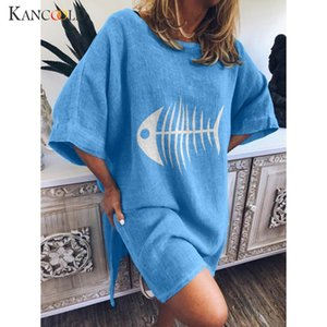 Wholesale KANCOOLD dress Women Casual Funny Fish Bone Print Dress O Neck Summer Short Sleeve Loose fashion new women MAY20