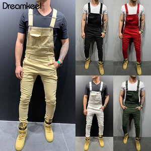 Wholesale Men Jumpsuits Distressed Denim Carpenter Overalls Bib Moto Biker Men Jeans Pants Sleeveless Fashion Street Wear Hiphop Y