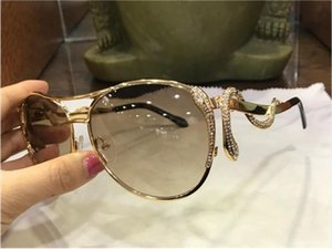 Wholesale new fashion women designer sunglasses metal pilot animal frame Snake shaped legs with diamonds top quality protection eyewear