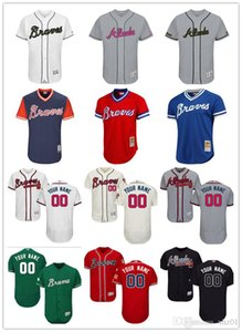 Wholesale custom Men s women youth Majestic Braves Jersey Any Your name and your number Home Red Black Kids Girls Throwback Baseball Jerseys