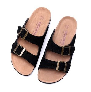 Famous Brand Men Genuine Leather Slippers Women Sandals Double Buckle Men Shoes Arizona Summer Beach top Quality