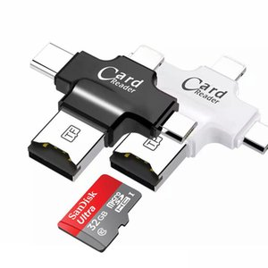 Wholesale 4 in Type c Lightning Micro USB USB Memory Card Reader Micro SD Card Reader for Android iphone OTG reader