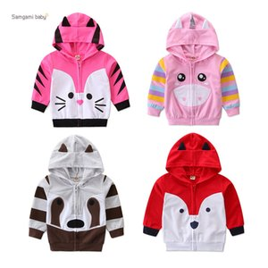 Wholesale Infant Baby Hooded Jacket Baby Girls Leisure Outfits Clothing Toddle Baby Girl Boys Fox Raccoon Cat Animal Style Hidden Zipper Coat 1-6T