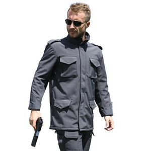 Wholesale Men Outdoor Warm Fleece M65 Soft Shell Jacket Spring Autumn Climbing Hunting Riding Hiking Thermal Windproof Army Tactical Coat