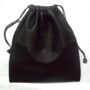 Black Dirt-resistant Artificial PU Leather Drawstring Bags Coin Headphones Cellphone Small Thing Protective Pouch Bag 220*200mm