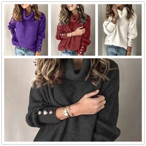Wholesale Hot Sale Ladies Solid Color Loose Large Size Pullover Sweater Winter Fashion Turtleneck Knitted Long Sleeve Cuff Button Sweater