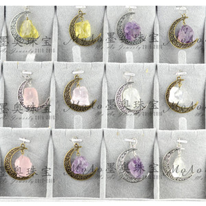 Wholesale natural stone crystal necklace starry sky time GEM PENDANT Irregular Moon Vintage Beautifully Pendant moon Necklace Quartz Crystal Jewelry