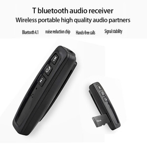 With MIC Bluetooth 4.1 Receivers Clip Handsfree Car Kit 3.5 AUX Support TF Card Playback Wireless Audio Adapter for Earphone