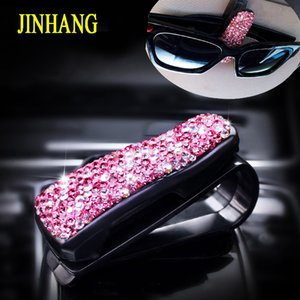 Wholesale 1PC Fashion Crystal Rhinestone Car Glasses Case Holder Sunglasses Clip Vehicle Sun Visor Cards Holders