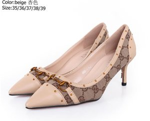 Wholesale GG Metal buckle rivet shoes color matching sexy high heeled letters classic pointed shoes free post