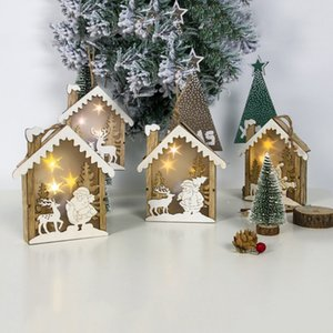 Wholesale Mini Wooden House LED Light Up Christmas Ornament Luminous Xmas Tree Hanging Pendant Party Decor Christmas Decorations For Home