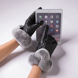 Fashion-Rabbit Fur Gloves Women Genuine Leather Gloves for Winter Touchscreen Fashion mittens