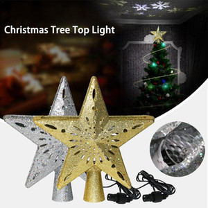 Wholesale 3d light projection for sale - Group buy 3D Christmas Tree Topper Light Hollow Star Sparkling Star with Rotating Snowflake Projection Light for Christmas Tree Ornament