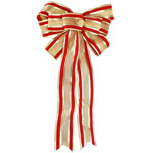 Wholesale Lengthened Christmas Bowknot Christmas Tree Bow Ornament Luxury Red Gold Stripe Bowknot Christmas Decoration Pieces ePacket
