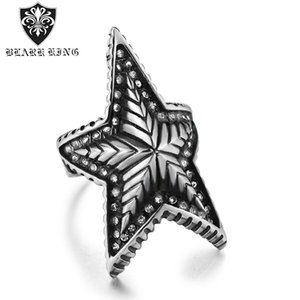 Wholesale mens ring diamonds resale online - 2020 New Popular Accessories Five Pointed Star Diamond Set Jewelry European and American Stainless Steel Mens Punk Ring Us Size