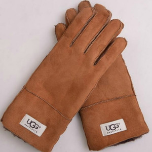 Fur Leather Gloves Leisure Fashion Plush Women Winter Outdoor Warm Frosted Mittens Five Fingers Glove 25zx U U on Sale