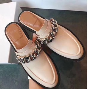 Wholesale 2019 Slip on Chains Mental Women s Loafers Round toe Low heel Mules Lady casual shoes Party dress Scuffs Flats Moccasins Slipper size35