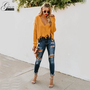 Wholesale Gold Hands New Arrival European and American Style Pullovers Solid Tassel Computer Knitted Yellow Women Sweater