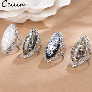 Wholesale 4 Color Vintage Antique Silver Colorful Big Oval Shell Finger Ring Band Ring For Women Female Statement Boho Beach Jewlery Gift