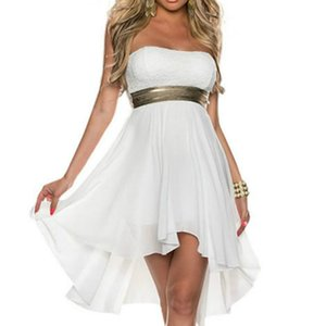 2019 Women Sexy Dress Hot Clubwear Intimate Party Dress New Arrival Strapless Sleeveless Chiffon Dress Vestidos Plus Size Homecoming Dresses