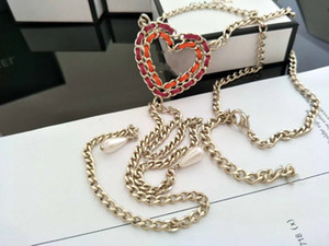 luxury women's female's ladies stamped pendant red peach heart Clavicular chain long necklaces sweater chains free shipping