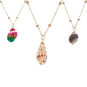 Wholesale 1pc DIY Jewelery Natural cameo shell Pendant necklace Conch Beads chain Jewelery Craft Accessories Beach seashell women femme