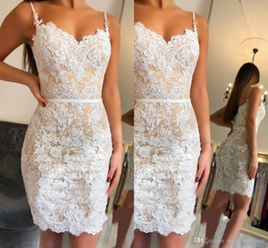 Wholesale Cheap Elegant Sweetheart Homecoming Dresses Mermaid Lace Short Party Gowns Knee length Tight fit Pageant Prom Gowns Mini Short