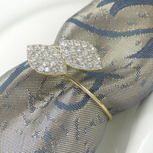 Wholesale futaba resale online - Futaba Grass Rhinestone Napkin Rings Metal Tablecloth Ring For Wedding Banquet Table Decoration Supply Hotel Crystal Napkin Buckle BC BH3071
