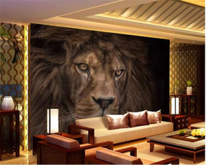 3d Wall paper Walls Promotion HD Mighty Wild Animal Lion Living Room Bedroom Background Wall Decoration Mural Wallpaper on Sale