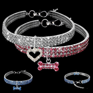 Wholesale cat collars resale online - Rhinestone Pet supplies Dog Cat Collar Crystal Puppy Chihuahua Collars Necklace For Small Medium large Dogs Diamond Jewelry Accessories