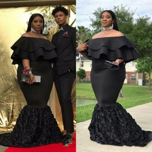 Plus Size African Evening Dresses 2019 Black Satin Off Shoulder Ruched Hand Made 3D Flowers Mermaid Formal Prom Gowns on Sale