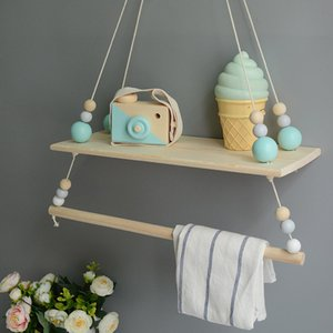 Wholesale kids bookshelf resale online - Handcrafted Shelf Double Sweetness Hanging Bead Shelf Nordic Style Nursery Decoration Bookshelf Kids Room Girls Room Storage T200319