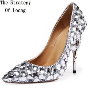 Wholesale British Fashion Sex Style Genuine Leather Crystal Super High Heels Shallow Slip On Women Shoes For Bridal Wedding Party