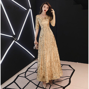 Wholesale weiyin Gold Wine Red Evening Dresses Long Elegant V neck A line Floor Length Sequined Formal Evening Gown WY1082