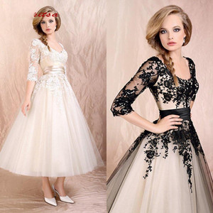 Tea Length Lace Cocktail Dresses Party with Sleeves Graduation Women Prom Plus Size Homecoming Mini Semi Formal Dresses on Sale