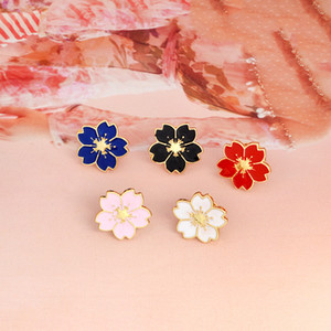 Wholesale dark pink brooch resale online - Flower dark blue white black red pink flower pretty five petals personality ornament brooch lapels ornament combination