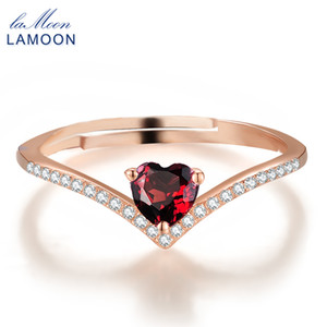 Wholesale LAMOON Natural Heart Cut Red Garnet Rings for Women Sterling Silver Jewelry Rose Gold Romantic Wedding Bands Ring RI003