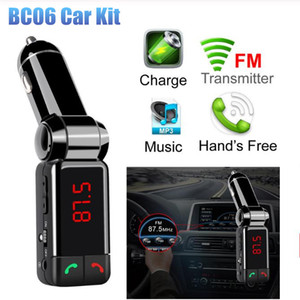 Wholesale BC06 Car Kit MP3 Bluetooth FM Transmitter Hands Free Bluetooth Audio Player Wireless Modulartor USB Charger For Mobile Phone