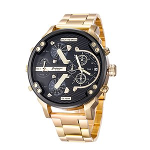 Wholesale 2019Luxury Watches Men Big Dial Brand Watch Stainless steel Strap Dual time Calendar Fashion Quartz Clock Man Woman Military Wristwatches Gi