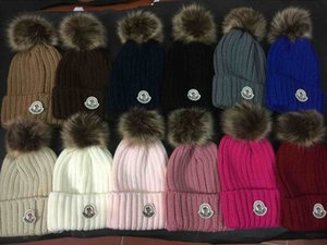 Wholesale Newest Design Real animal hair winter beanies for Boy girl brand hat keep warm knitted warm Hat Skullies Beanie for men women