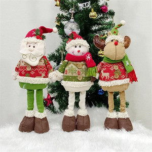 Wholesale Cute Christmas Plush Toy Retractable Standing Christmas Old Man Snowman Elk Doll Xmas Home Hotel Window Decoration Kids Gifts