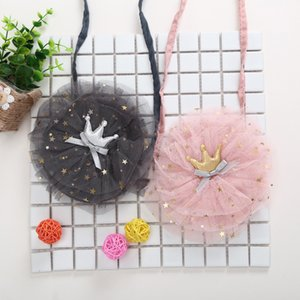 2019 Fashion Cute Infant Baby Girls Kids Bags Crown Lace Cotton Causal Shoulder Bags 2 Colors