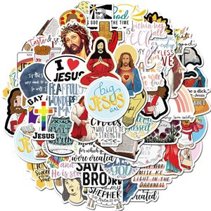 Wholesale christian window sticker for sale - Group buy 50 Car Stickers Christian Jesus For Skateboard Laptop Fridge Helmet Stickers Pad Bicycle Bike Motorcycle PS4 Notebook Guitar Pvc Decal