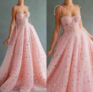 Wholesale line stars resale online - 2020 Pink Prom Dresses Spaghetti Lace Bling Star Floor Length Cheap Evening Dress A Line Custom Made Special Occasion Gowns robes de soiree