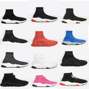 Wholesale NEW designer shoes Speed Sock Sneakers Stretch Mesh High Top Boots for mens womens black white red glitter Runner Flat Trainers US5