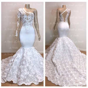 Wholesale Gorgeous One Shoulder White Mermaid Evening Dresses Long Sleeve Lace Ruffles Rose Flowers Prom Party Dress Pageant Gowns