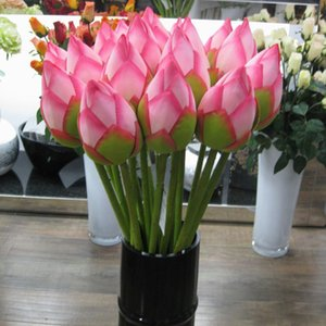 Wholesale Artificial Lotus Flower Bud Artificail Silk Fake Vivd Lotus Flower Simulation Water Lily cm Wedding Home Pond Party Decoration BH2503 CY